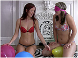 Video clip for sale of Holly and Raven playing balloon popping tricks
