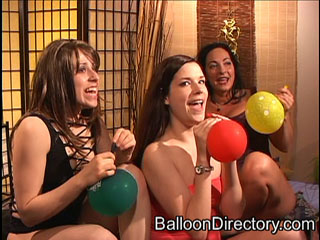Video clip of three girls and helium balloons