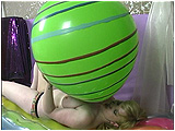Video clip for sale of Xev inflating a 24-inch South American balloon