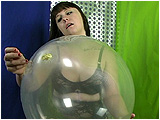 Video clip for sale of Sophie tormenting and popping clear balloons with a pin