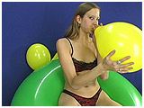 blowing up balloons