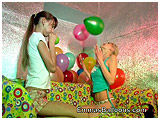 Melissa and Katrina enjoy some girlie time together with balloons