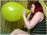 Video clip for sale of Xev blowing to pop 16-inch balloons
