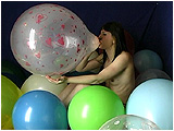 Debby blows to burst two different types of balloons