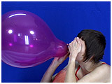 Video clip for sale of Alice power-inflating three balloons with her mouth