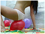 Sofia rides a bunch of balloons in her panties