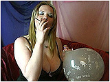 Video clip for sale of Xev smoking a Virginia Slims cigarette while blowing up a 17-inch clear balloon