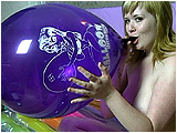 Video clip for sale of Xev making a video of her morning smoke as she inflates a 17-inch balloon and cig pops it