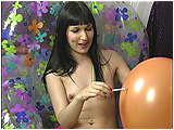 Video clip of Debby smoking, and popping balloons