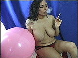 smoking virginia slim cigarette and balloon