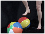 foot popping beach balls