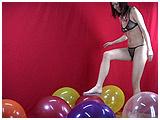 popping balloons in flip flops