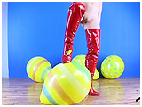 thigh high boots popping balloons