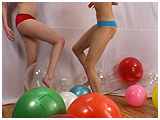 Video clip for sale of Ava and Cassie foot-popping balloons