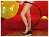 Video clip for sale of Alexxia foot-pumping a 24-inch Qualatex
