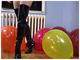 boot popping latex balloons
