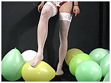 foot popping latex balloons in stockings