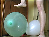 Video clip for sale of Andi's barefoot balloon stomping