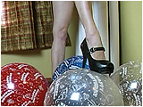 Video clip for sale of Eira stomping balloons in Mary Jane heels