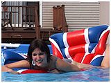 Video clip of Debby relaxing on an airmat before deflating it in the pool