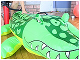 Video clip for sale of Ava pumping an inflatable alligator