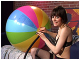 Video clip for sale of Corinne pumping up a giant 48-inch, 12-panel glossy beachball
