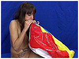 Video clip for sale of Sandrine mouth-inflating a beach ball