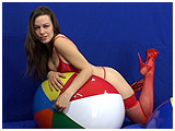 Video clip for sale of Ruby deflating a 6-panel beachball