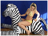Scarlette's inflatable zebra ride and deflation