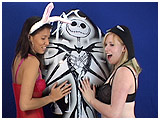 xev and kitty's inflation and bounce of a jack skellington inflatable