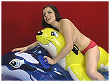 Lizzie stacks a couple of big inflatables on top of an airmat for a wile ride