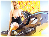 Video clip for sale of Rachel having fun with an inflatable whale