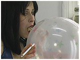 Video clip for sale of Adele inflating and cig-popping a Qualatex spray