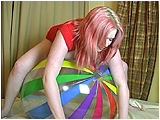 Video clip for sale of Xev inflating and bouncing on a 48-inch beachball