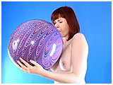 Video clip for sale of Cassie blowing to burst a thick purple peacock