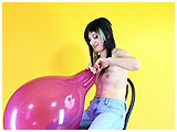 Video clip for sale of Debbie mouth-inflating a balloon to the max