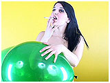 Video clip for sale of Lee smoking cigarettes and playing with balloons