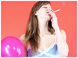 Video clip for sale of Ava smoking while inflating a balloon